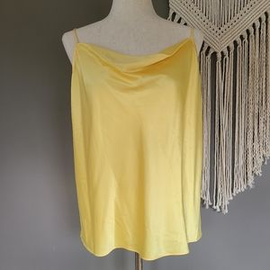 Nine West | Yellow Satin Cowl Neck Cami size Large